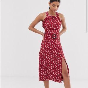 High neck line red midi dress